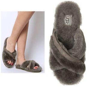 UGG Grey Abela Shearling Fur Slides 7